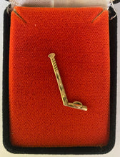 Load image into Gallery viewer, 14K Gold Hockey Stick Tie Tack Pin Presented to Referee Bruce Hood by NHL in Box