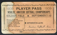 Load image into Gallery viewer, 1939 Soldier Field Worlds Amateur Softball Championship Player Pass Chicago Rare