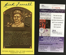 Load image into Gallery viewer, Rick Ferrell Signed Baseball Hall Of Fame Plaque Card Boston Red Sox HOF JSA