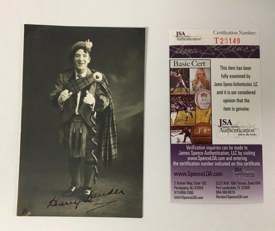 1900 Signed Harry Lauder Postcard Scottish Entertainer Million Records Sold JSA