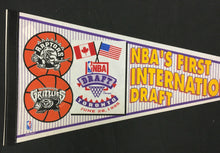 Load image into Gallery viewer, 1995 NBA Draft Pennant First International Toronto Raptors Vancouver Grizzlies