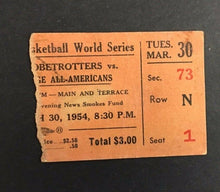 Load image into Gallery viewer, 1954 Harlem Globetrotters Vs College All Americans Ticket Stub Vtg Basketball