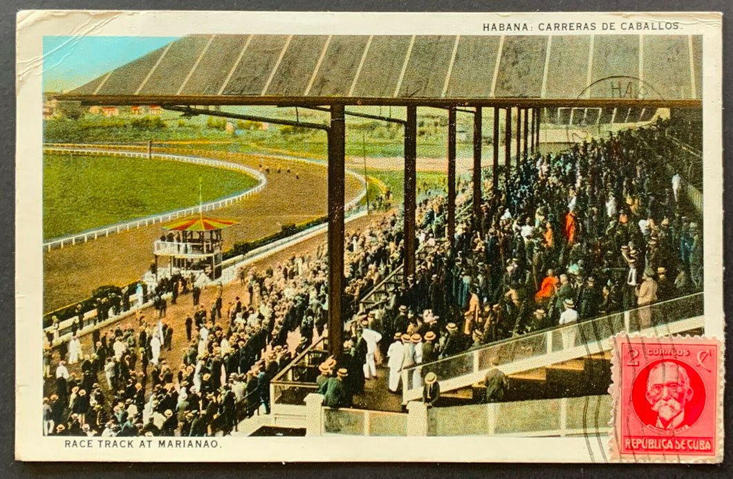 1928 Havana Cuba Horse Race Track At Marianao Vintage Postcard Post Card