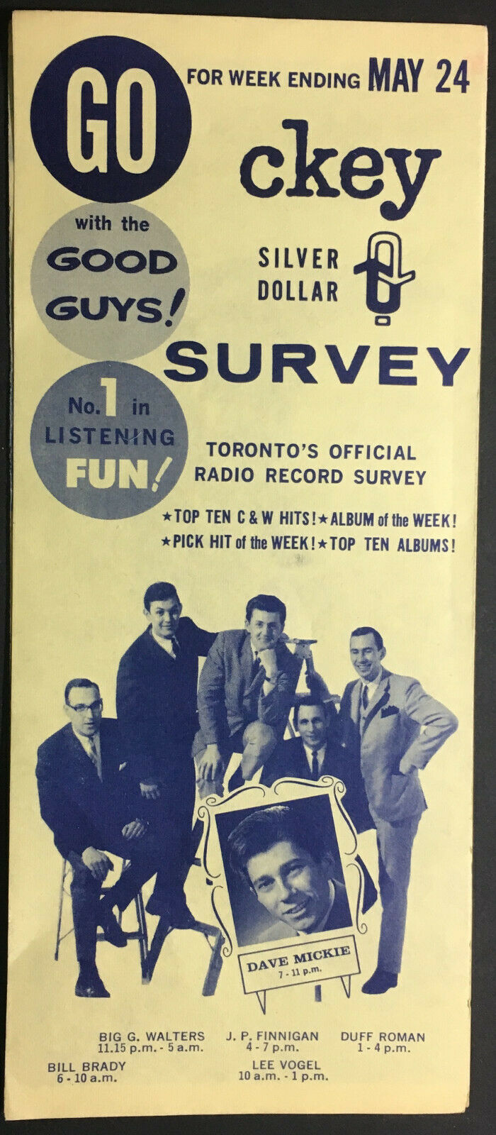 1963 CKEY Toronto Radio Record Survey Chart Bill Anderson Jimmy Soul Music VTG
