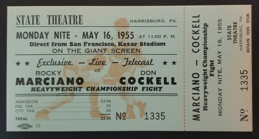 1955 Heavyweight Championship Closed Circuit Fight Ticket Rocky Marciano Boxing