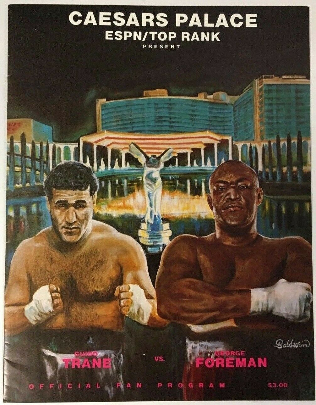 1988 George Foreman vs Guido Trane Boxing Program Caesars Palace Las Vegas Fight