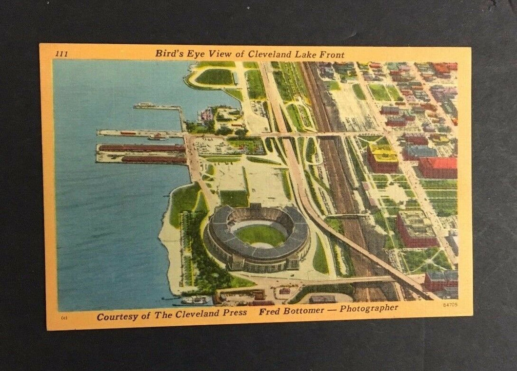 1950 Postcard Cleveland Municipal Baseball Stadium Post Card Birds eye View