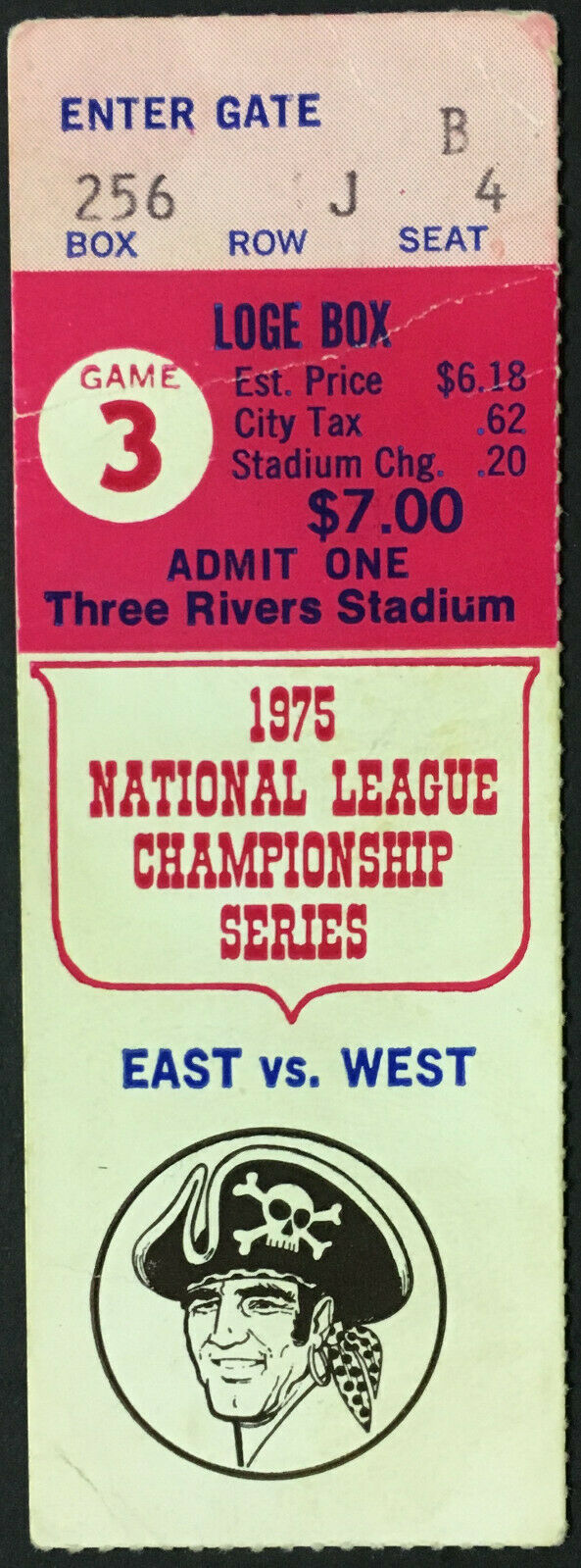 1975 NLCS MLB Game 3 Ticket Three Rivers Stadium Pirates v Reds Pete Rose HR