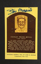 Load image into Gallery viewer, Stan Musial Signed Yellow HOF Plaque PostcardVintage Baseball Autographed