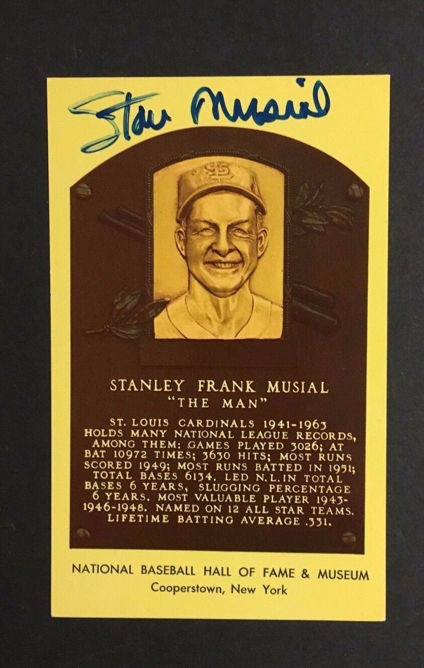 Stan Musial Signed Yellow HOF Plaque PostcardVintage Baseball Autographed