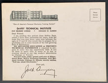 Load image into Gallery viewer, Rare Jack Dempsey Postcard Boxing Champ DeVRY Technical Institute Advertisement