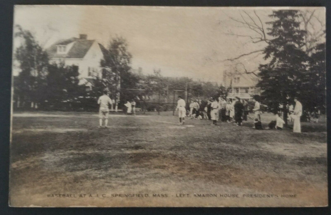 Postcard Rare American International College Baseball Game Springfield Mass USA