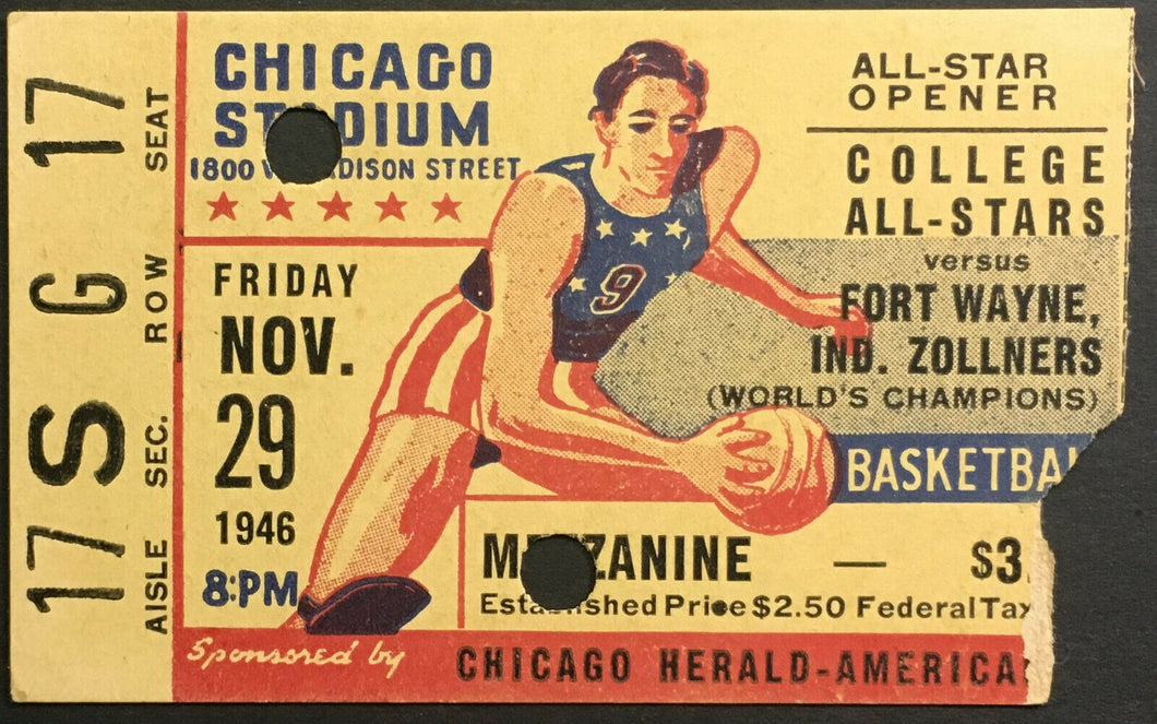 1946 NCAA Basketball Chicago Stadium Ticket College All Stars Fort Wayne Indiana