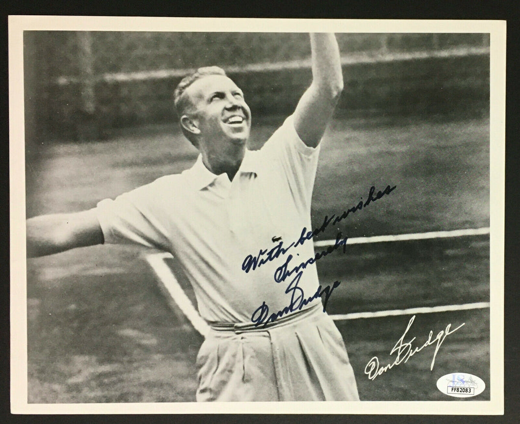 Don Budge Autographed Photo Champion Tennis Player Signed JSA COA