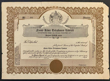 Load image into Gallery viewer, Early 1900s Common Share Certificate Telephone Company Vintage Canadian History