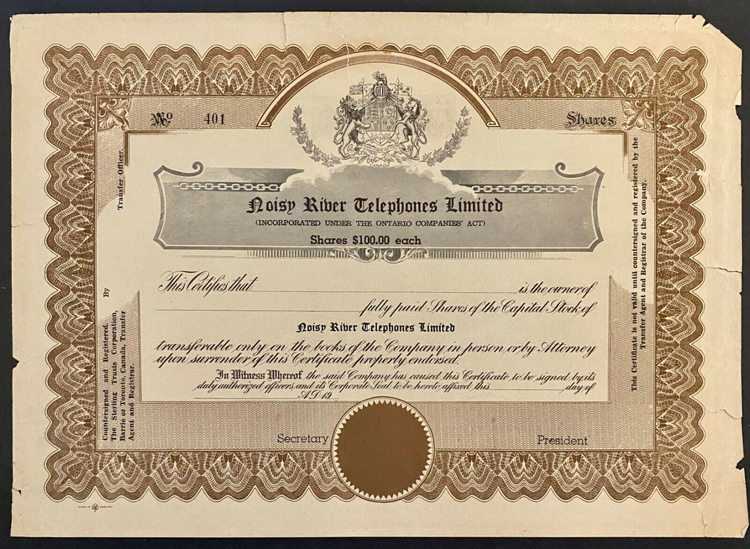 Early 1900s Common Share Certificate Telephone Company Vintage Canadian History