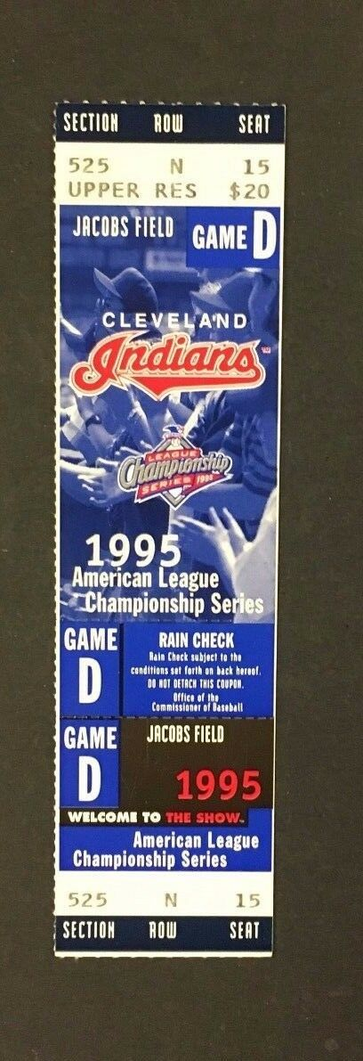 1995 MLB ALCS Baseball Phantom Ticket Cleveland Indians Jacobs Field Game 4