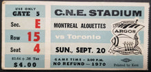 Load image into Gallery viewer, 1970 C.N.E. Stadium Montreal Alouettes vs Toronto Argonauts CFL Football Ticket