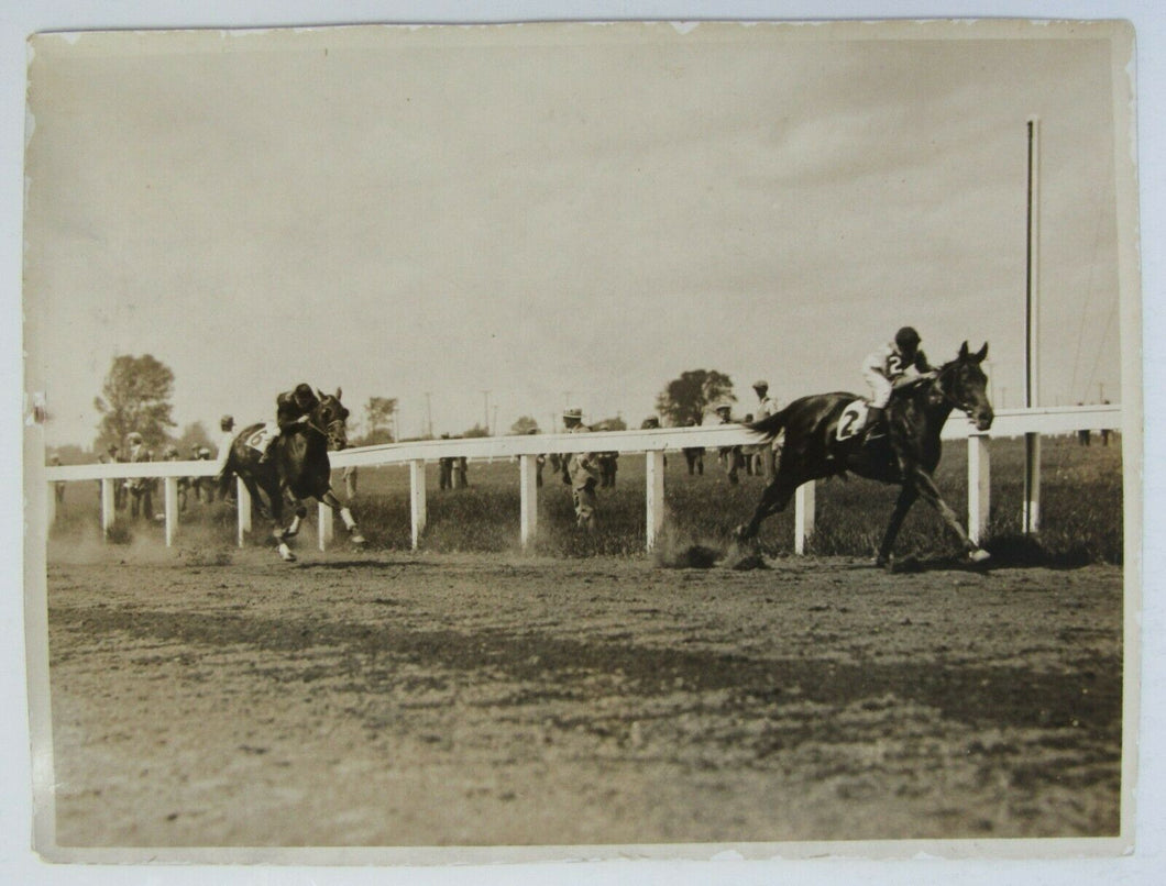 1927 Hall Of Fame Jockey Photo Frank Mann Aboard Horse Lazybones Thorncliff Park
