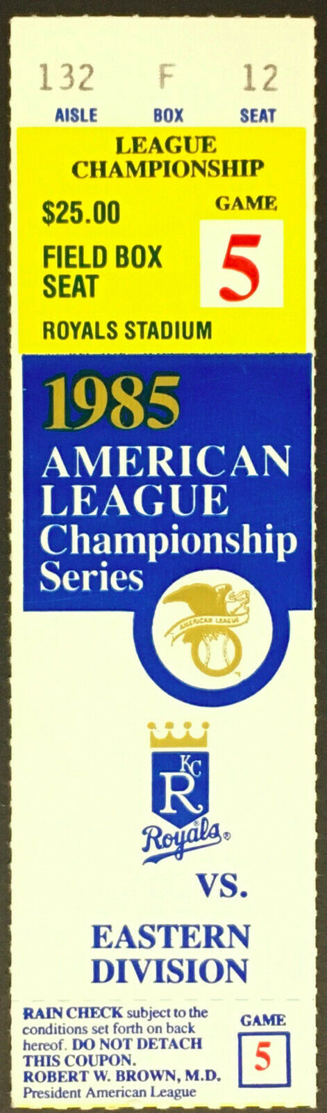 1985 ALCS Championship Series MLB Game 5 Ticket Kansas City Royals vs Blue Jays