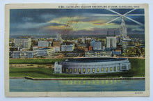 Load image into Gallery viewer, Circa 1950s Cleveland Stadium MLB Baseball Park Postcard - Skyline At Dusk