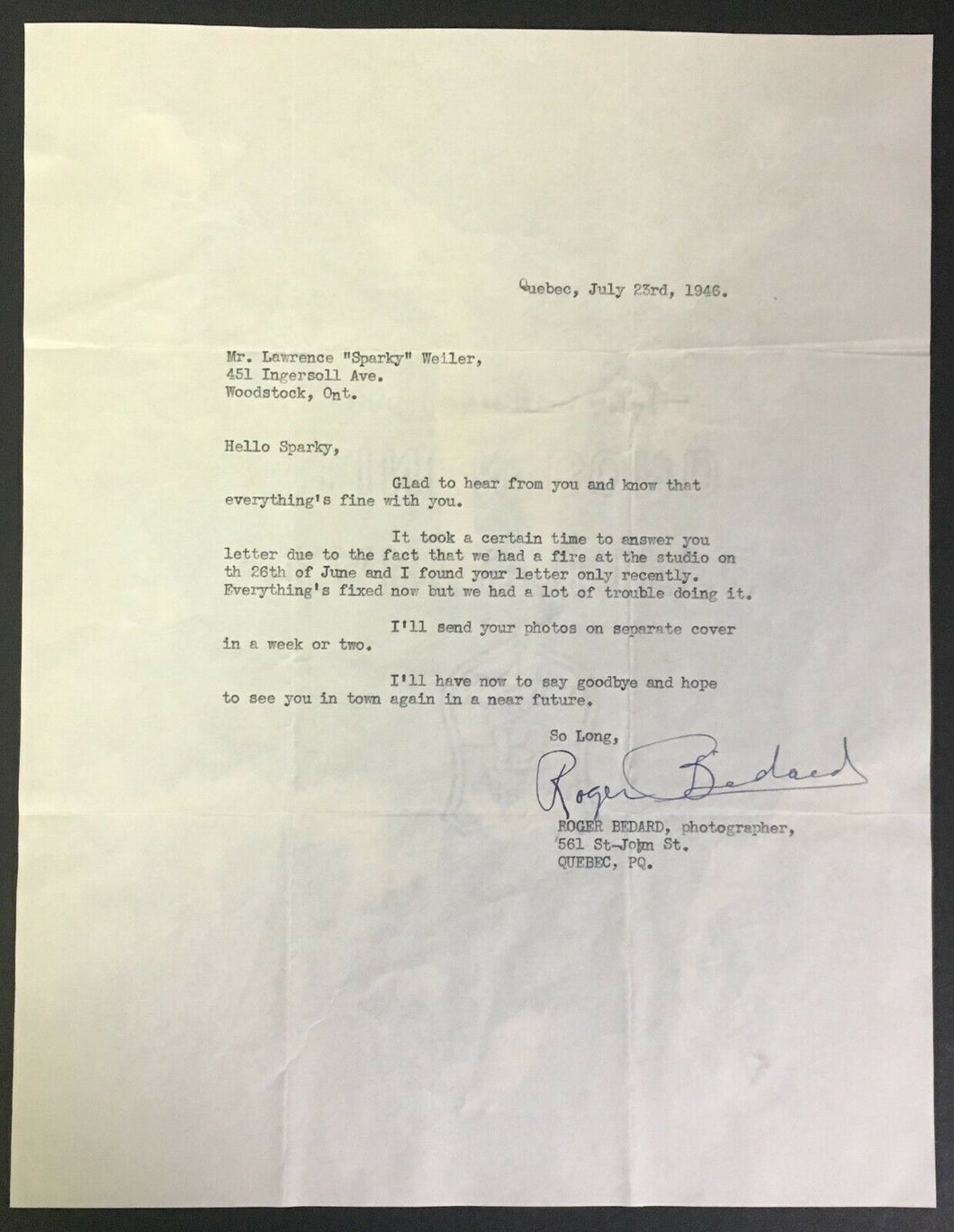 1946 NHL Hockey Photographer Roger Bedard Signed Letter Montreal Canadiens