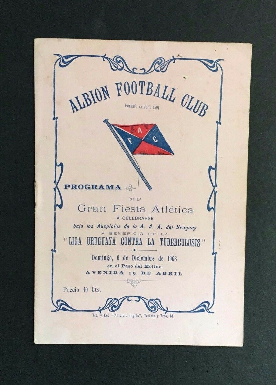 1903 Albion Football Soccer Club Program Montevideo Uruguay Athletic Comp