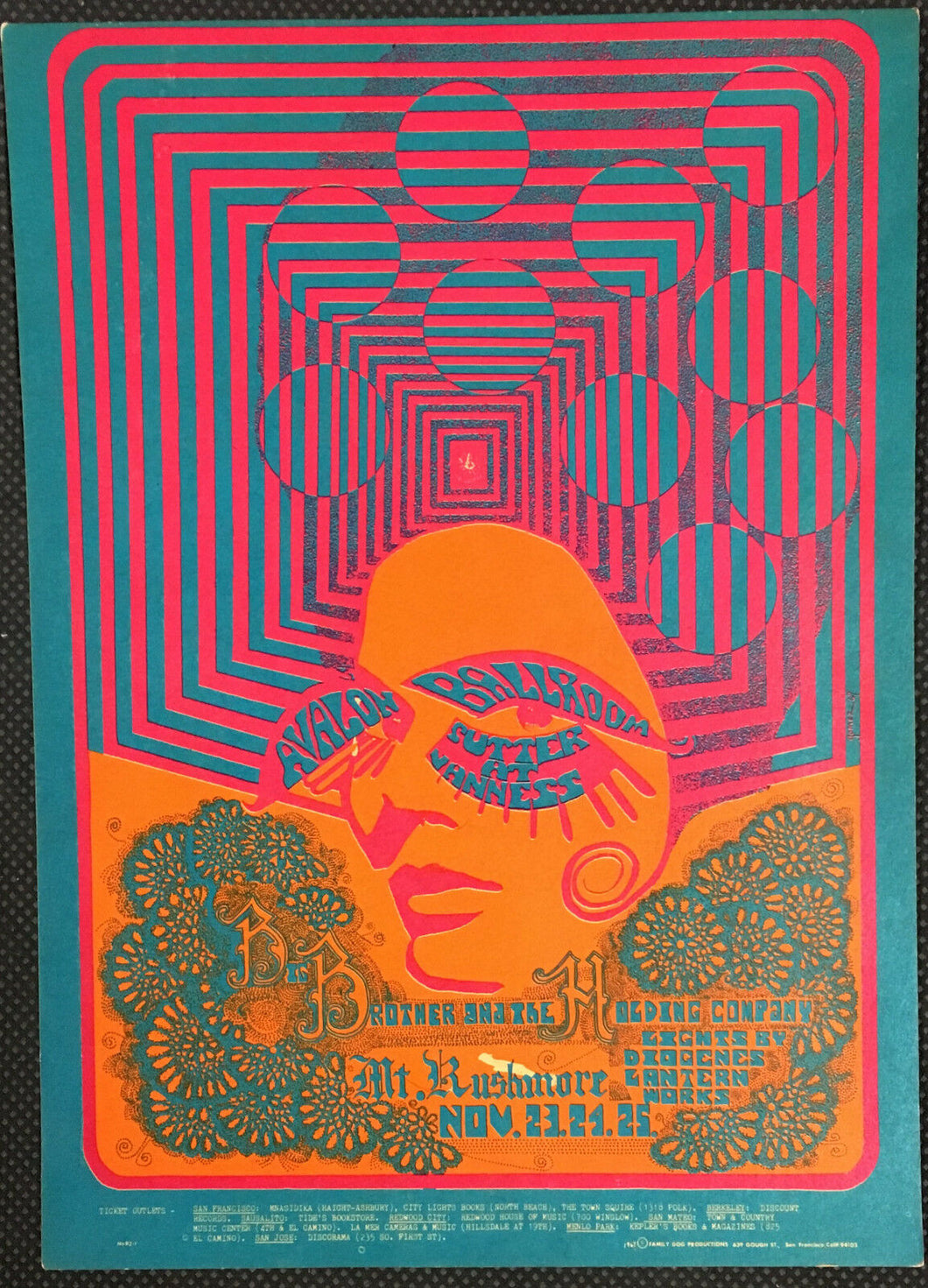 1967 Big Brother & The Holding Company Handbill Postcard Concert Avalon Ballroom