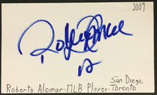 Load image into Gallery viewer, Roberto Alomar Signed Index Card Toronto Blue Jays MLB Baseball Vintage Auto JSA