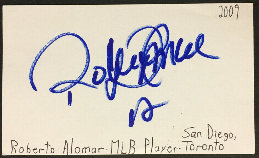Roberto Alomar Signed Index Card Toronto Blue Jays MLB Baseball Vintage Auto JSA