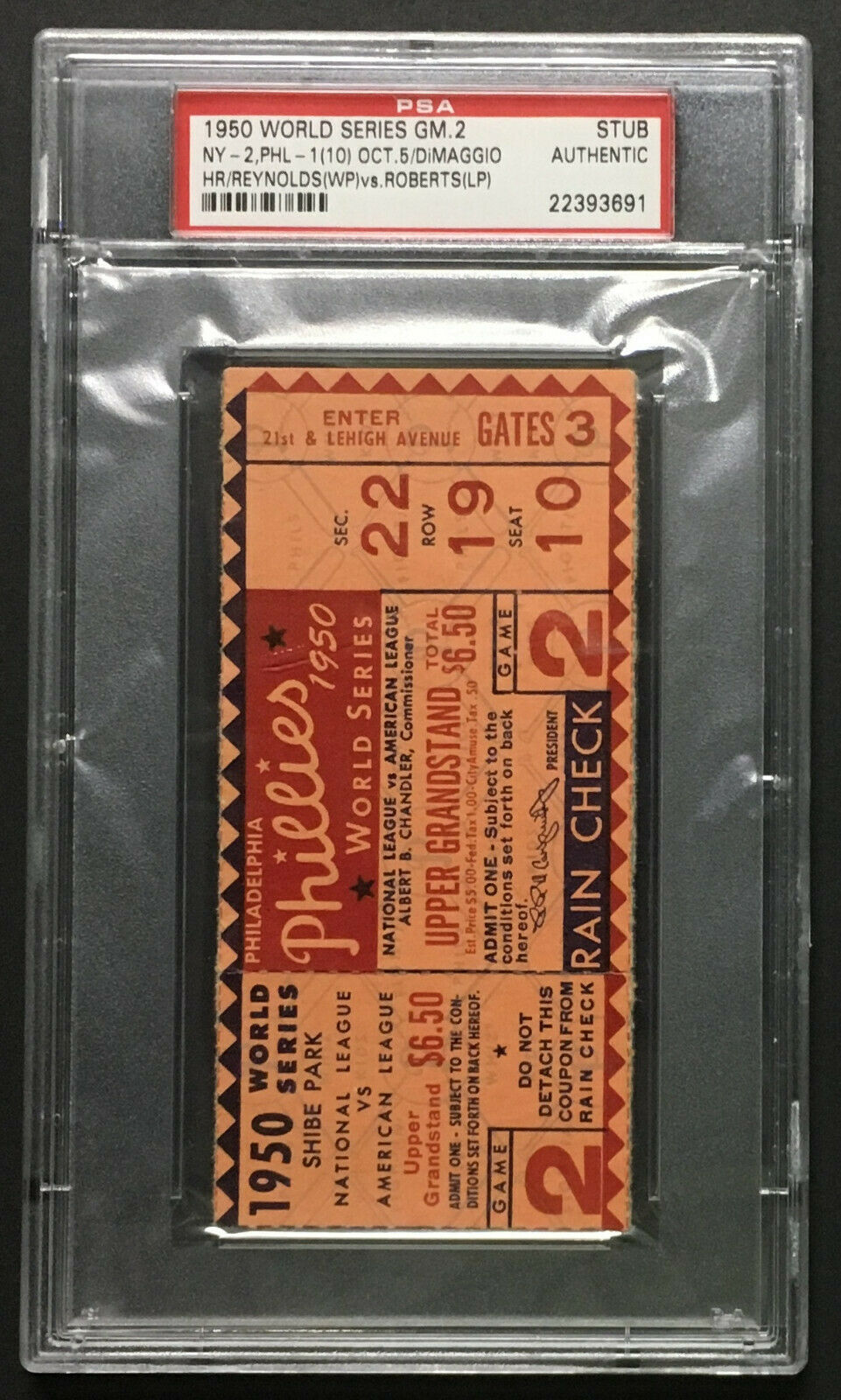 1950 World Series Ticket Game 2 PSA Authentic New York Yankees vs Philadelphia