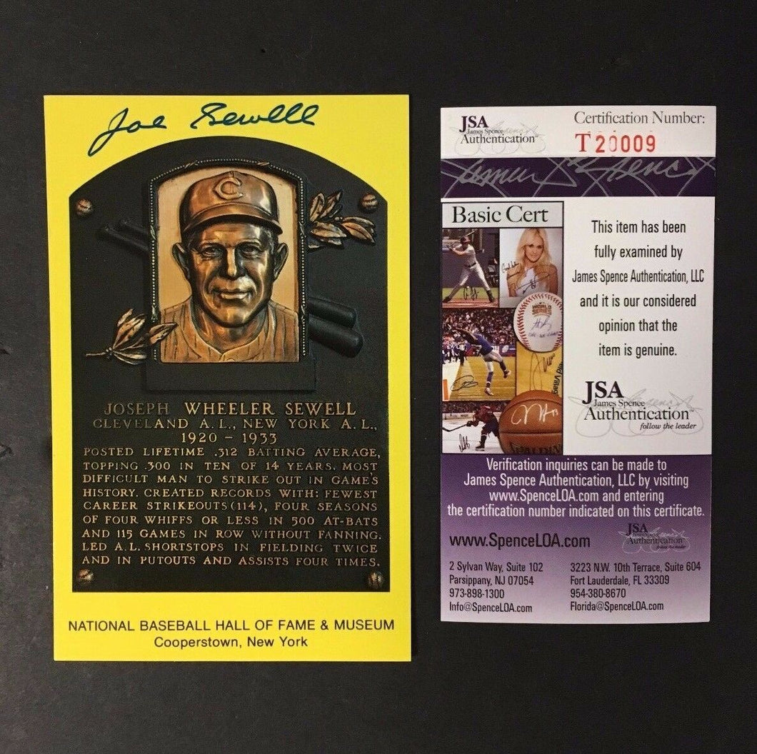 JOE Sewell Signed Hall Of Fame HOF Plaque Autographed Baseball JSA Authentic