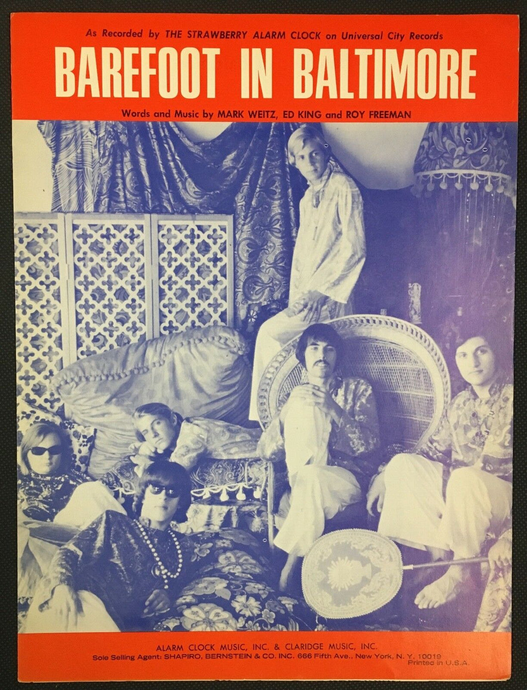 1968 Barefoot In Baltimore Sheet Music Mark Weitz Ed King Strawberry Alarm Clock