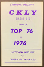 Load image into Gallery viewer, 1976 CKLY Chart Radio Survey Ontario Canada Music New Years 1977 Wild Cherry