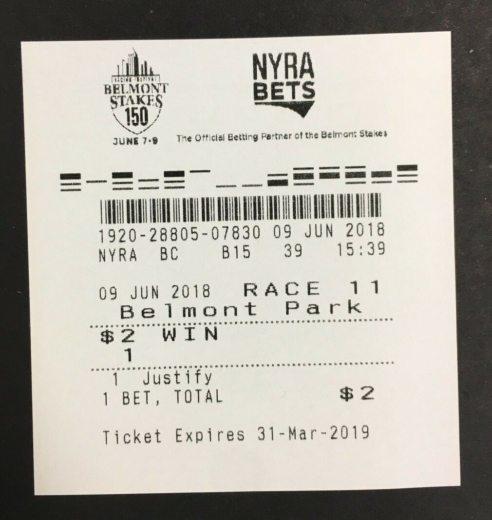2018 150th Belmont Stakes Justify Triple Crown Winning Ticket Horse Racing