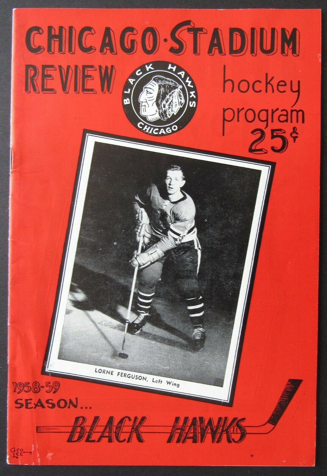 1959 Chicago Stadium NHL Program Chicago Blackhawks vs Toronto Maple Leafs