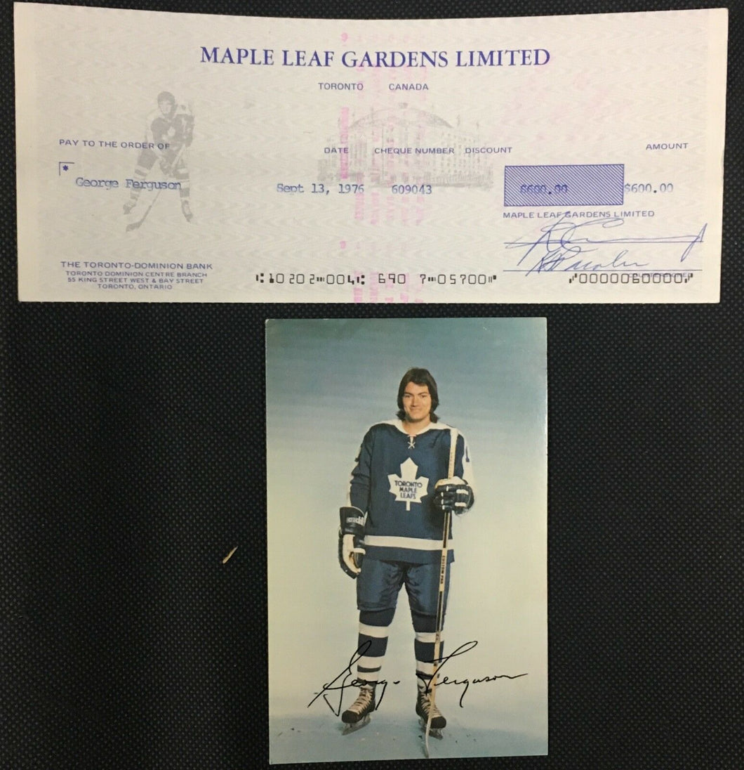1976 Maple Leaf Gardens Donald Crump Signed Cheque To George Ferguson NHL Player