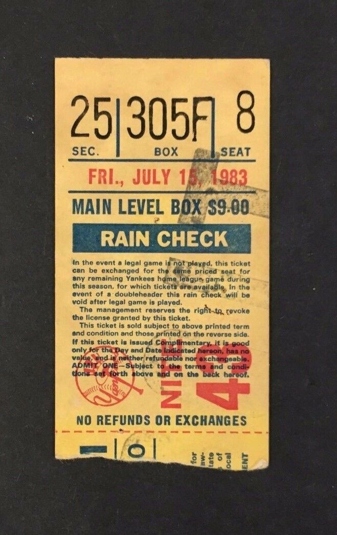 07/15/1983 New York Yankees Baseball MLB Ticket Stub Rain Check Vintage Rangers