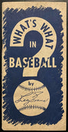 1940s MLB Whats What In Baseball Detroit Tigers Billy Evans Vintage Original