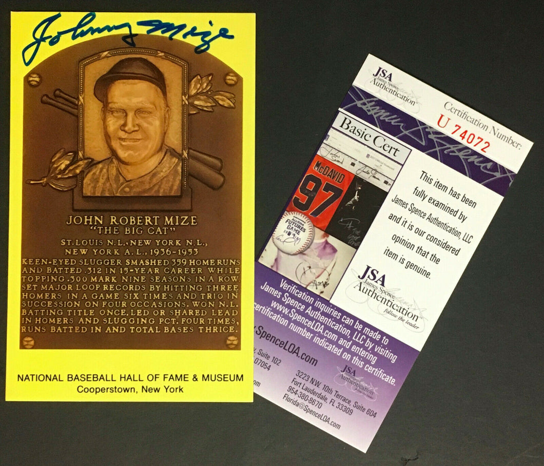 Johnny Mize Signed Autograph Baseball Hall Of Fame Plaque Card JSA