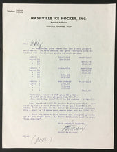 Load image into Gallery viewer, EHL Nashville Ice Hockey Letter Municipal Auditorium Signed David Patterson
