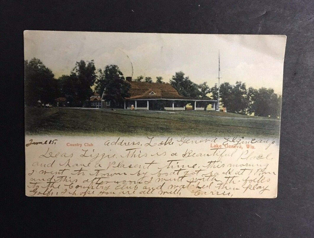 1905 Lake Geneva Country Club Golf Course Post Marked Postcard Vintage Stamp