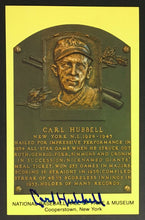 Load image into Gallery viewer, Carl Hubbell Signed Hall Of Fame Plaque Postcard Vintage New York Giants JSA