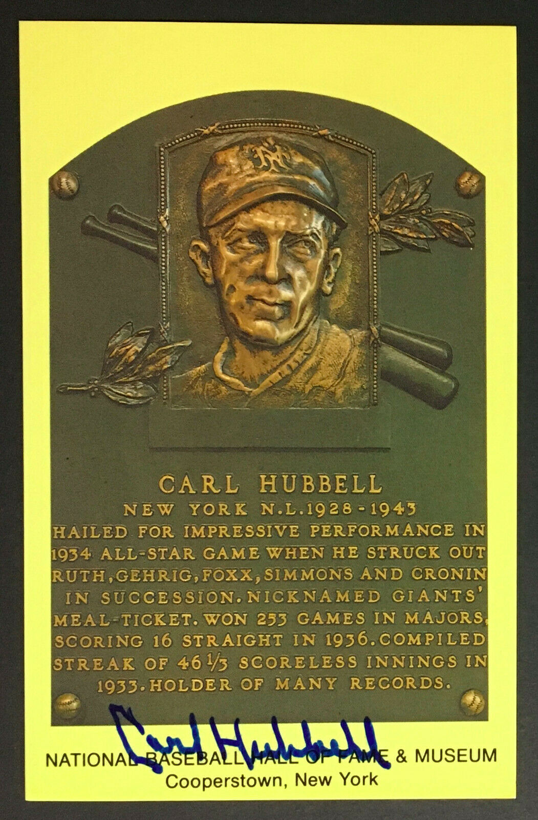 Carl Hubbell Signed Hall Of Fame Plaque Postcard Vintage New York Giants JSA