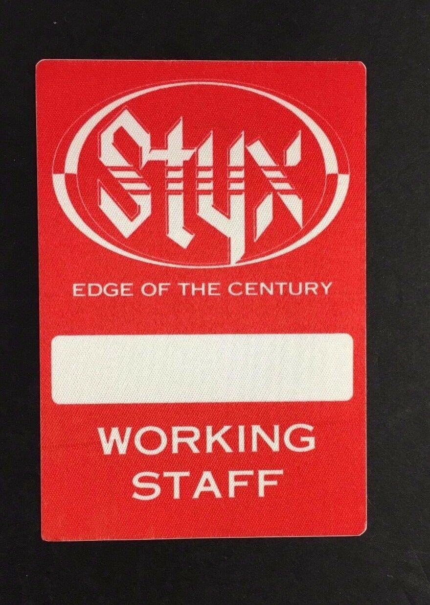 Styx Edge Of The Century Tour Backstage Concert Pass