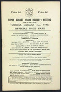 08/03/1948 Ripon Race Course Horse Thoroughbred Program In England Unscored