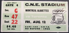 Load image into Gallery viewer, 1966 C.N.E. Stadium Montreal Alouettes vs Toronto Argonauts CFL Football Ticket