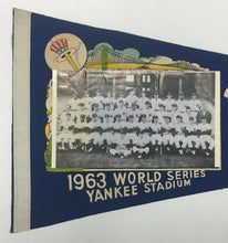 Load image into Gallery viewer, 1963 World Series New York Yankees Team Photo Pennant Mickey Mantle Berra