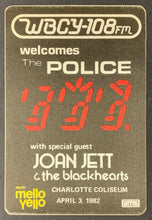 Load image into Gallery viewer, 1982 The Police + Joan Jett Unused Promo Satin Sticker Charlotte Coliseum