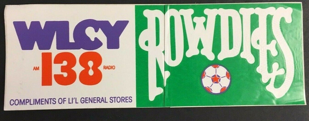 WLCY 138 AM Radio Bumper Sticker Tampa Bay Rowdies Soccer Decal Vintage